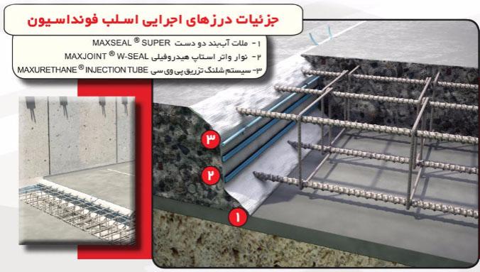 جزئیات آب بندی درزهای اجرایی اسلب فونداسیون
