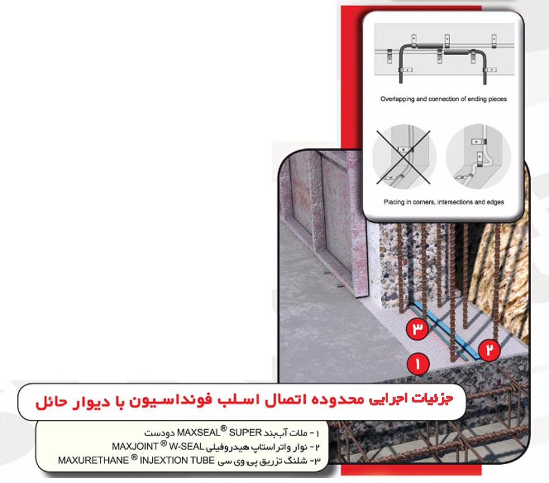جزئیات اجرایی آب بندی اتصال اسلب فونداسیون با دیوار حائل