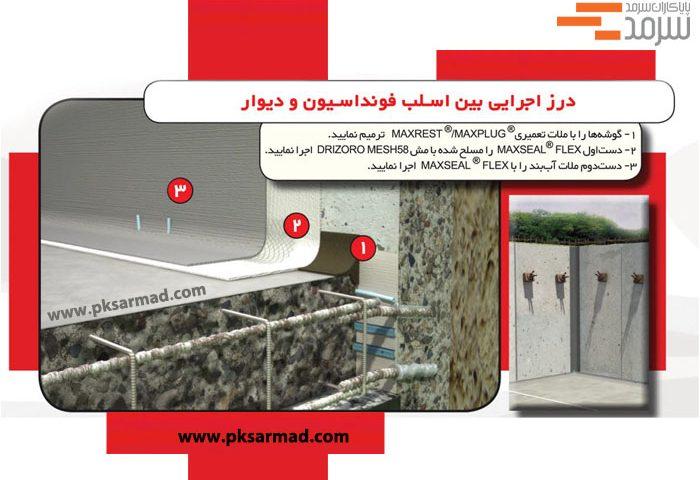 درز اجرایی بین اسلب فونداسیون و دیوار